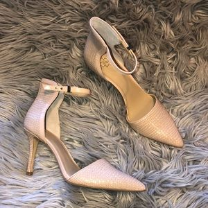 Ann Taylor Ankle textured pointed heels 8